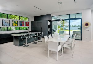 modern Interior dining room and kitchen of home