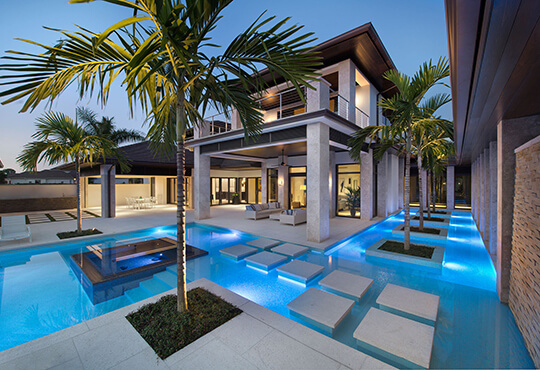 exterior of house with creative pool design