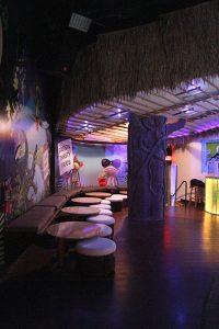 Dining area of wildlife themed restaurant