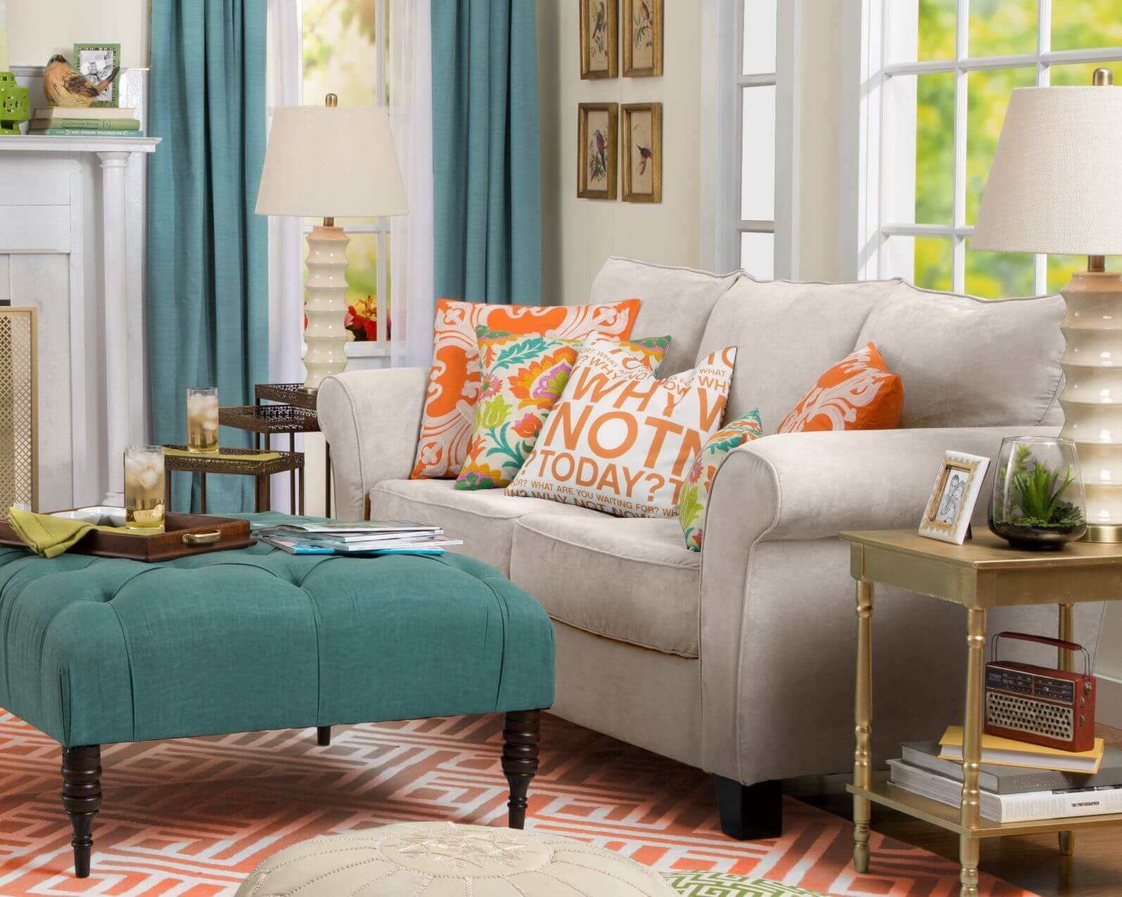 Image result for living room with ottoman